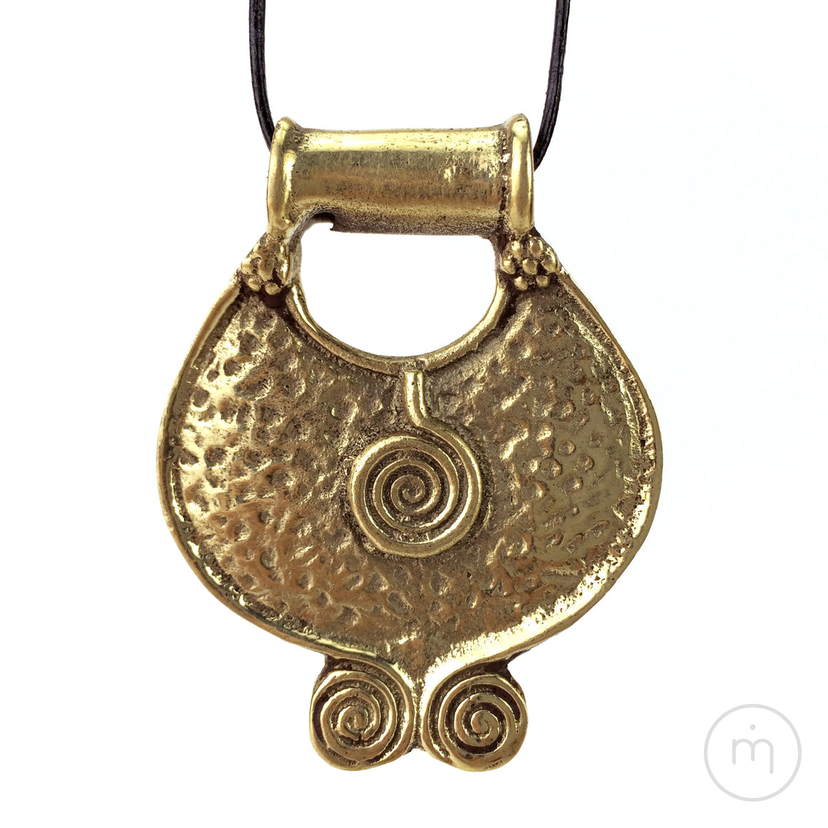 Fairtrade Nepalese 3 Spirals / Elements / Trinity Brass Pendant