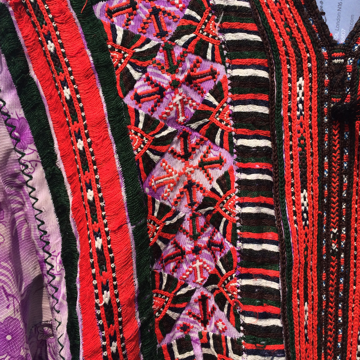 Vintage Balochi Dress - Purple Hand-embroidered Tribal Traveller Dress - Front