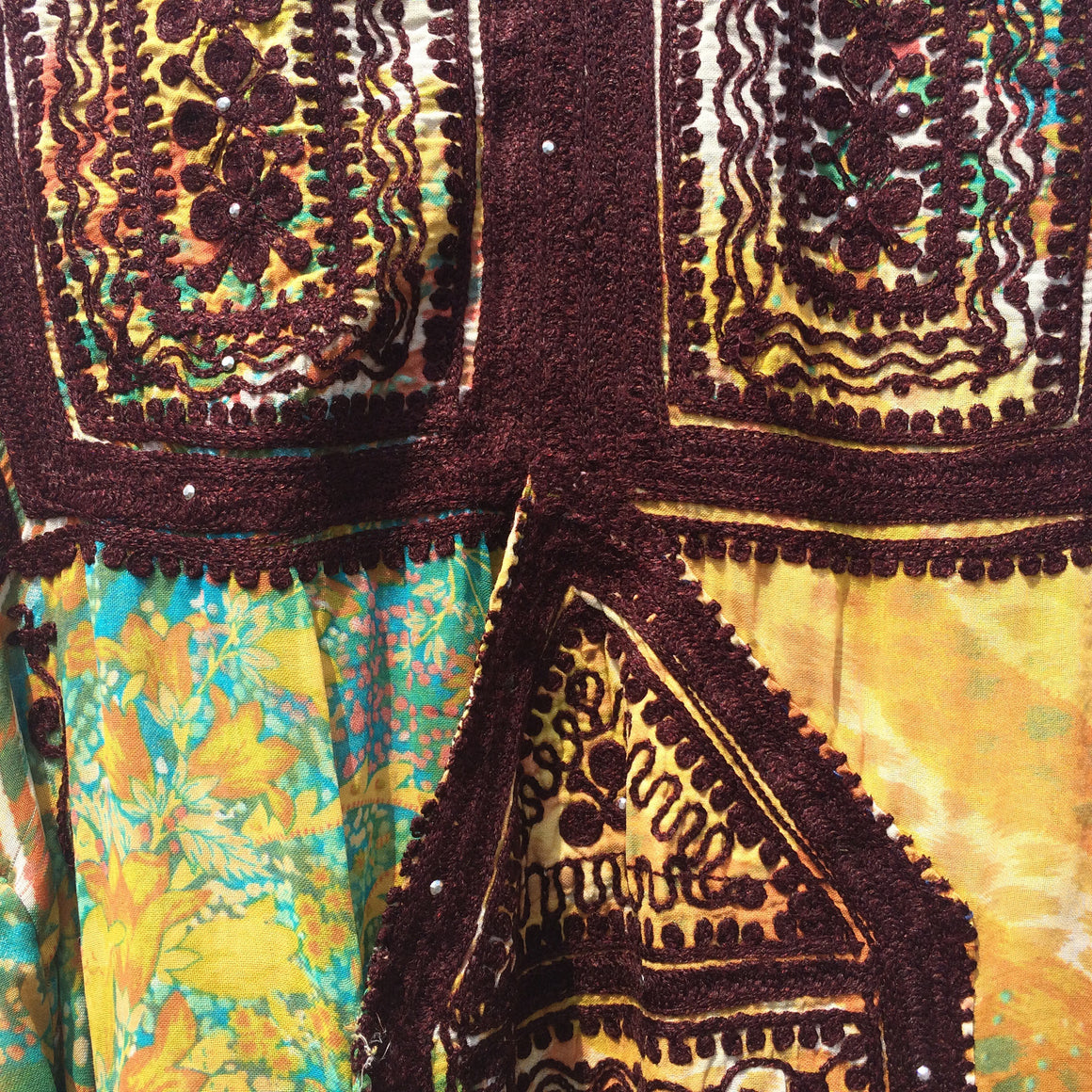 Vintage Balochi Dress - Light Semi-sheer Yellow Hand-embroidered Tribal Traveller Dress - front
