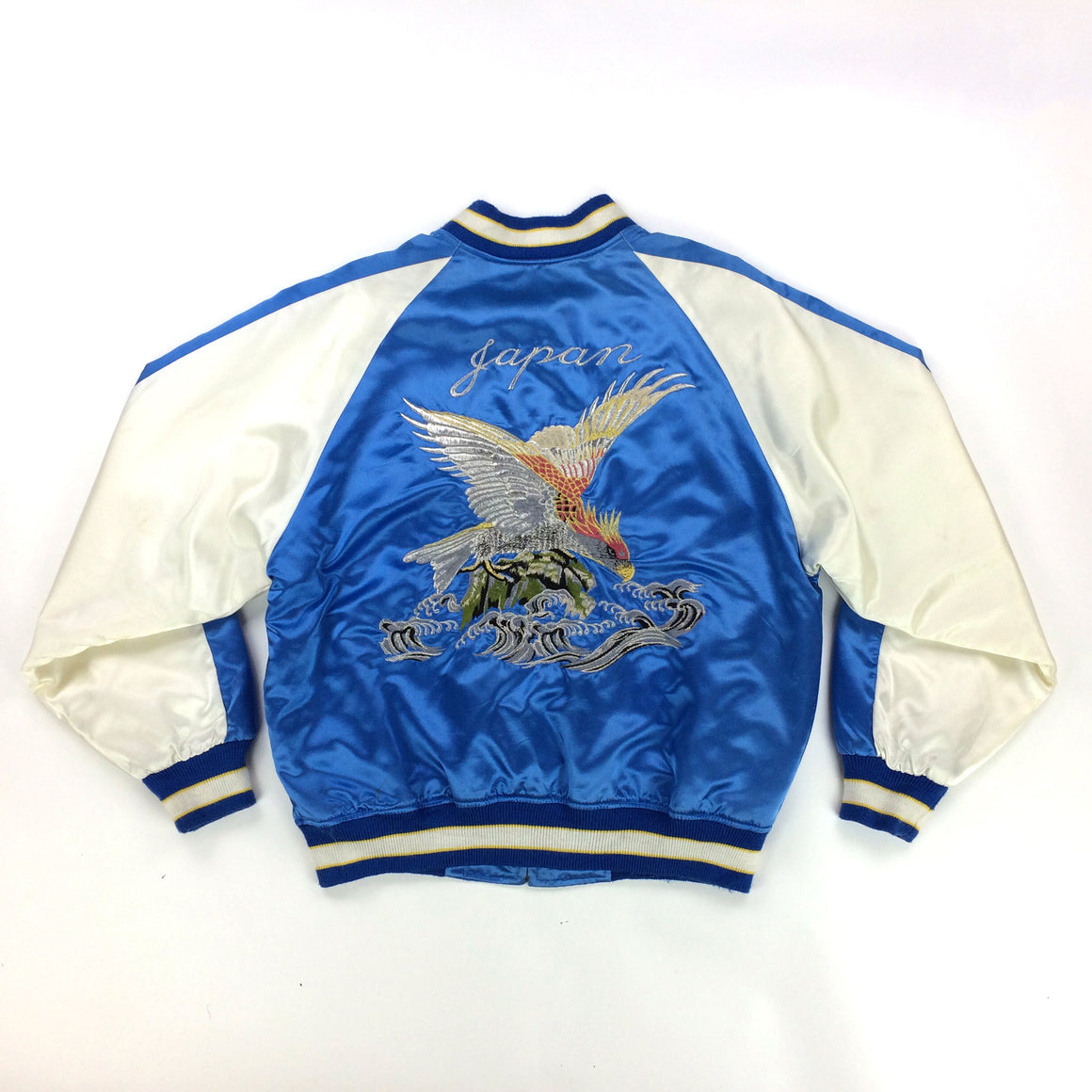 Vintage Sukajan Jacket Blue Eagle Hawk Quilted Souvenir Jacket Japanese Bomber Jacket - front