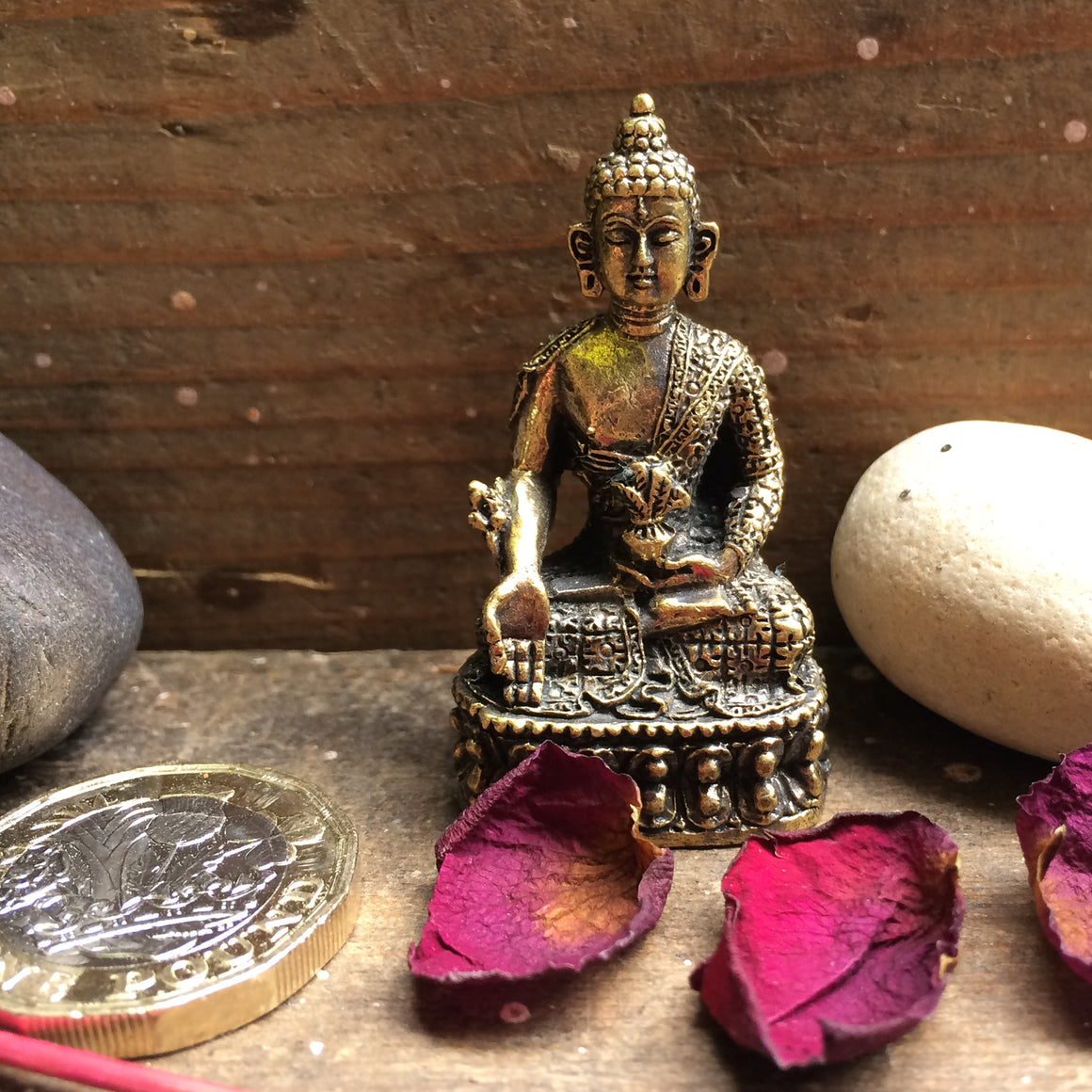 Fairtrade Nepalese Brass Buddha Statuette - front