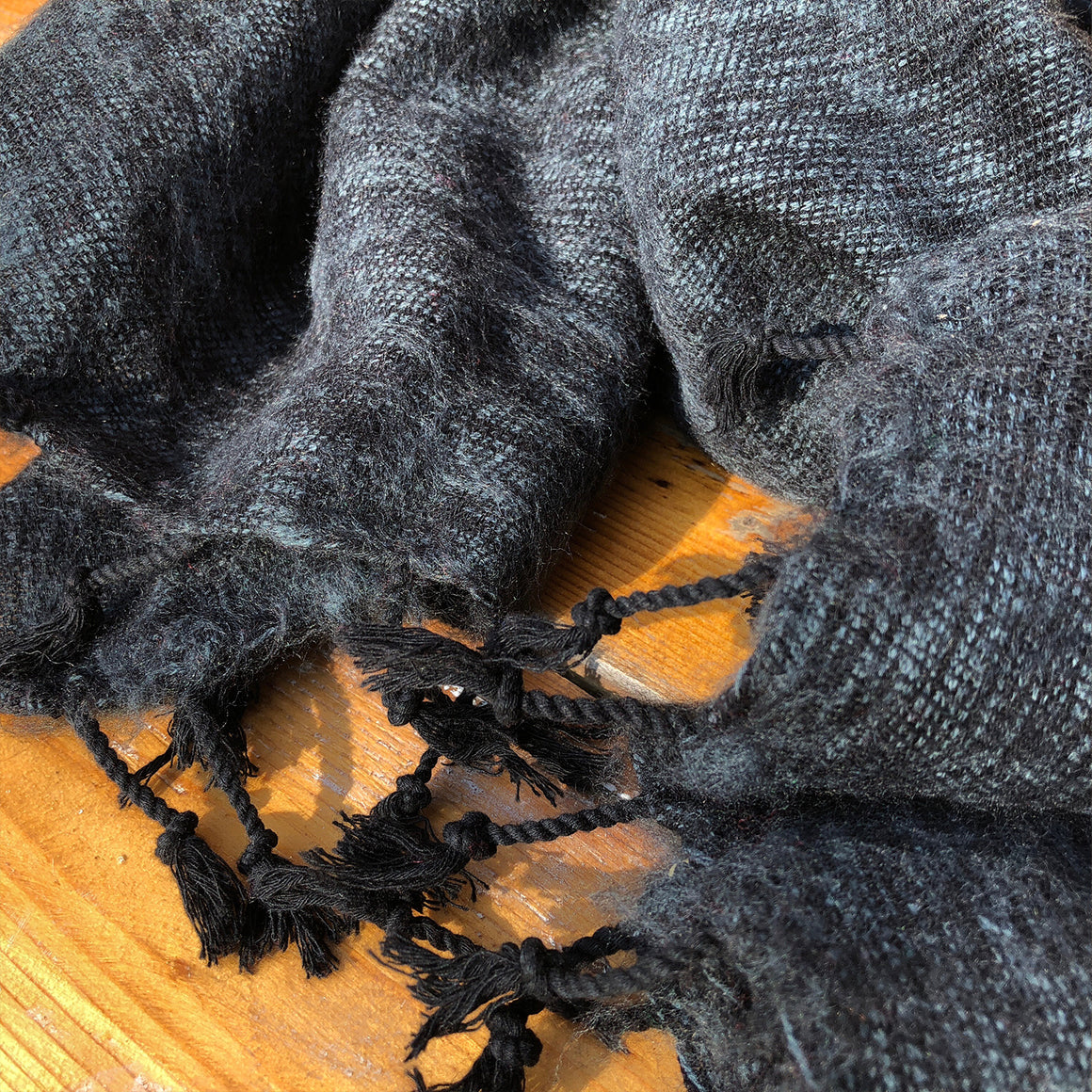 Handmade Nepalese 'Yak Wool' Shawl Dark Grey Oversized Scarf / Yoga Blanket - wrapped in loop