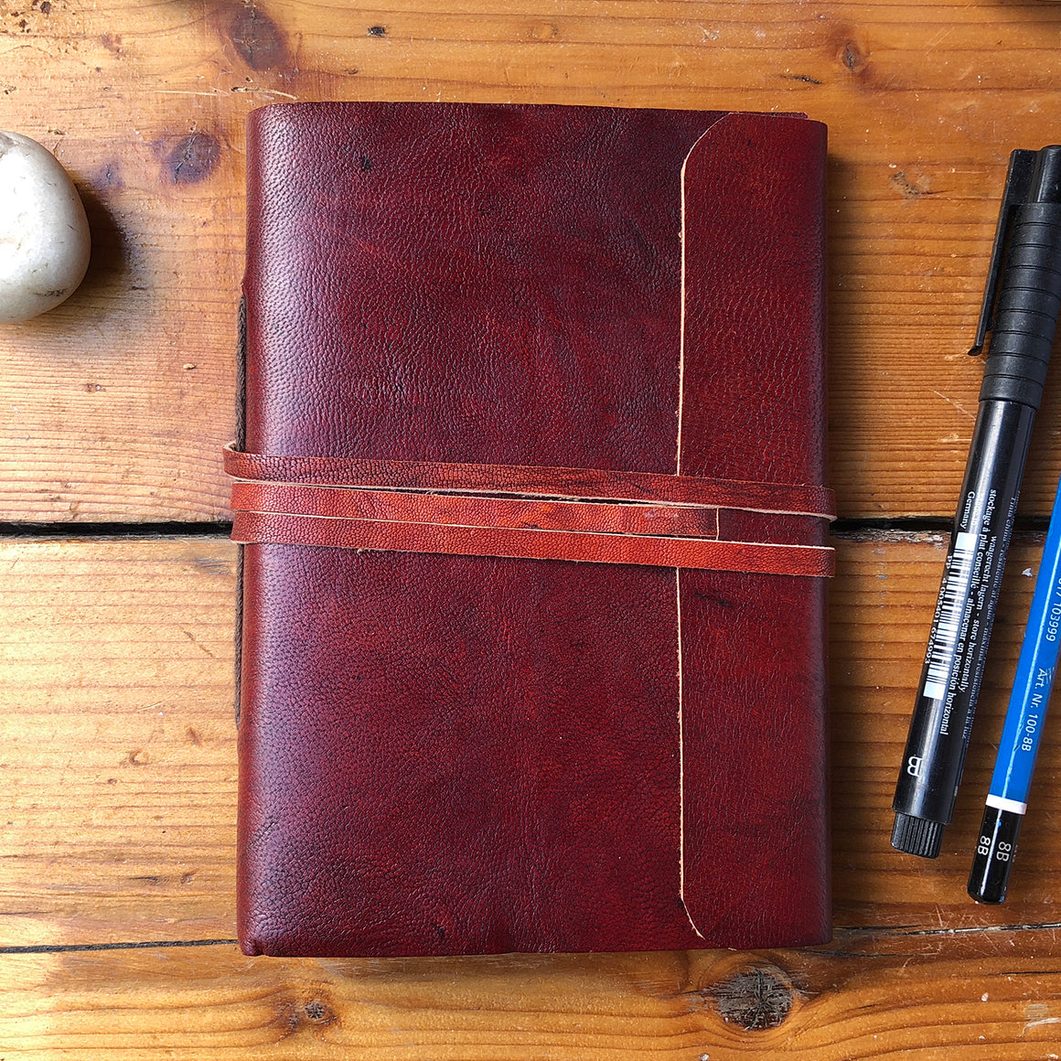 Fair Trade Leather Notebook with Folding Flap and Tie (2 Sizes) / Handmade Indian Leather Diary / Sketchbook / Journal - Large & Small Front Covers