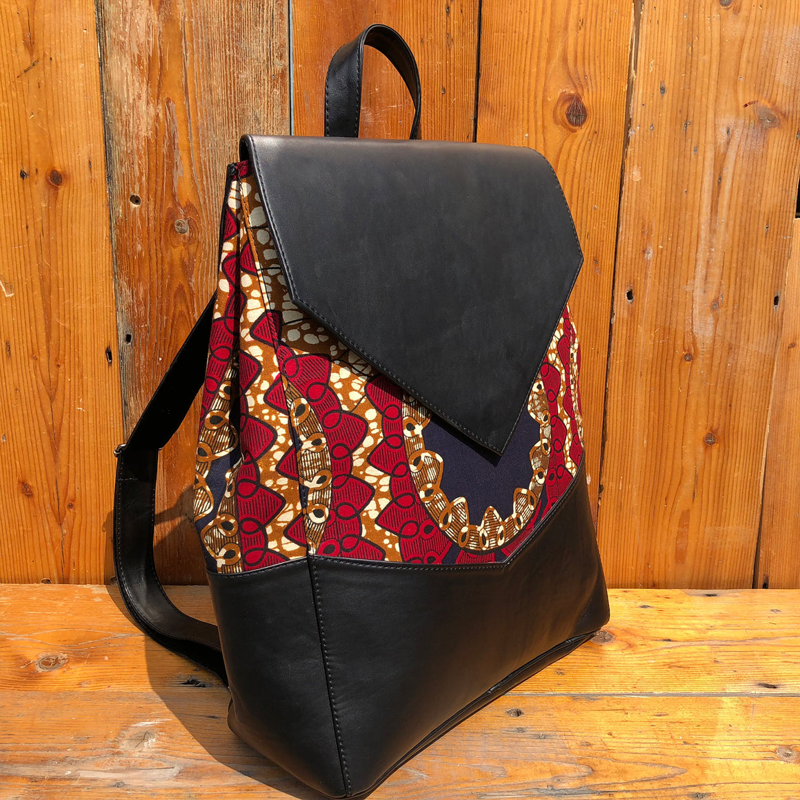 Fair Trade Vegan Leather African Print Handmade Backpacks - Red & Black