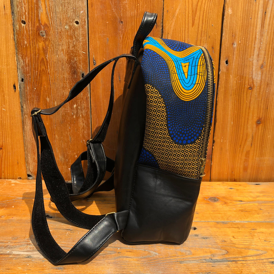 Fair Trade Vegan Leather African Print Handmade Backpacks - Blue & Yellow