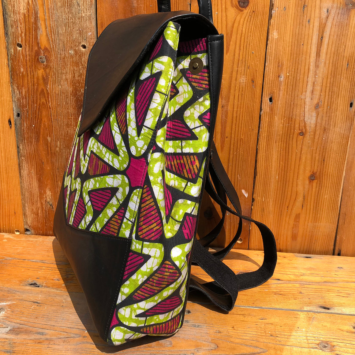 Fair Trade Vegan Leather African Print Handmade Backpack - Green & Purple Back