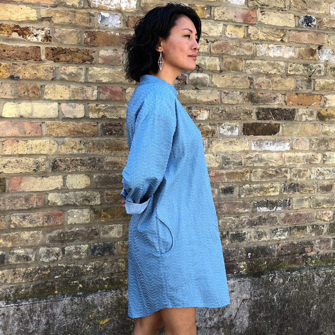 Mero Retro Fair Trade Oversized Relaxed Shirt Dress / Tunic with Mandarin Collar - Front