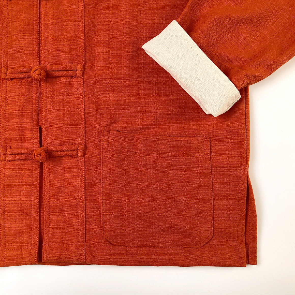 Fairtrade orange 100% cotton mandarin jacket - front flat