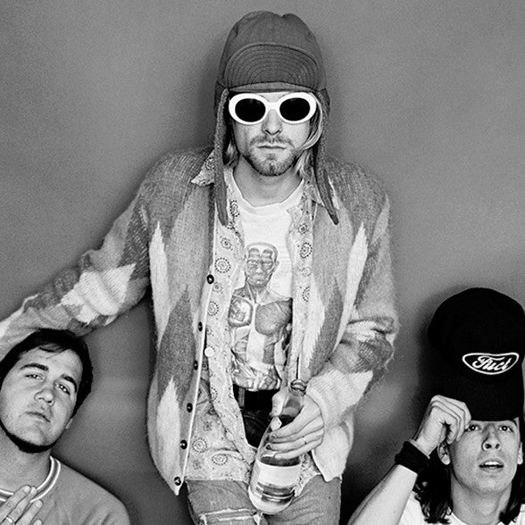 13a122dcd941 ... Nirvana: Krist Novoselic, Kurt Cobain in his white sunglasses and Dave  Grohl