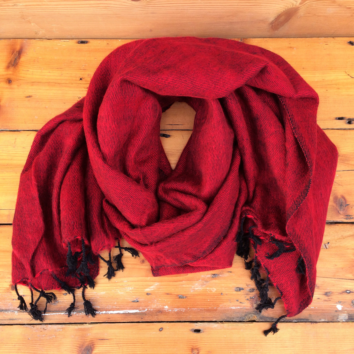 Handmade Nepalese 'Yak Wool' Shawl Burning Charcoal Red Black Oversized Scarf / Yoga Blanket - worn as scarf