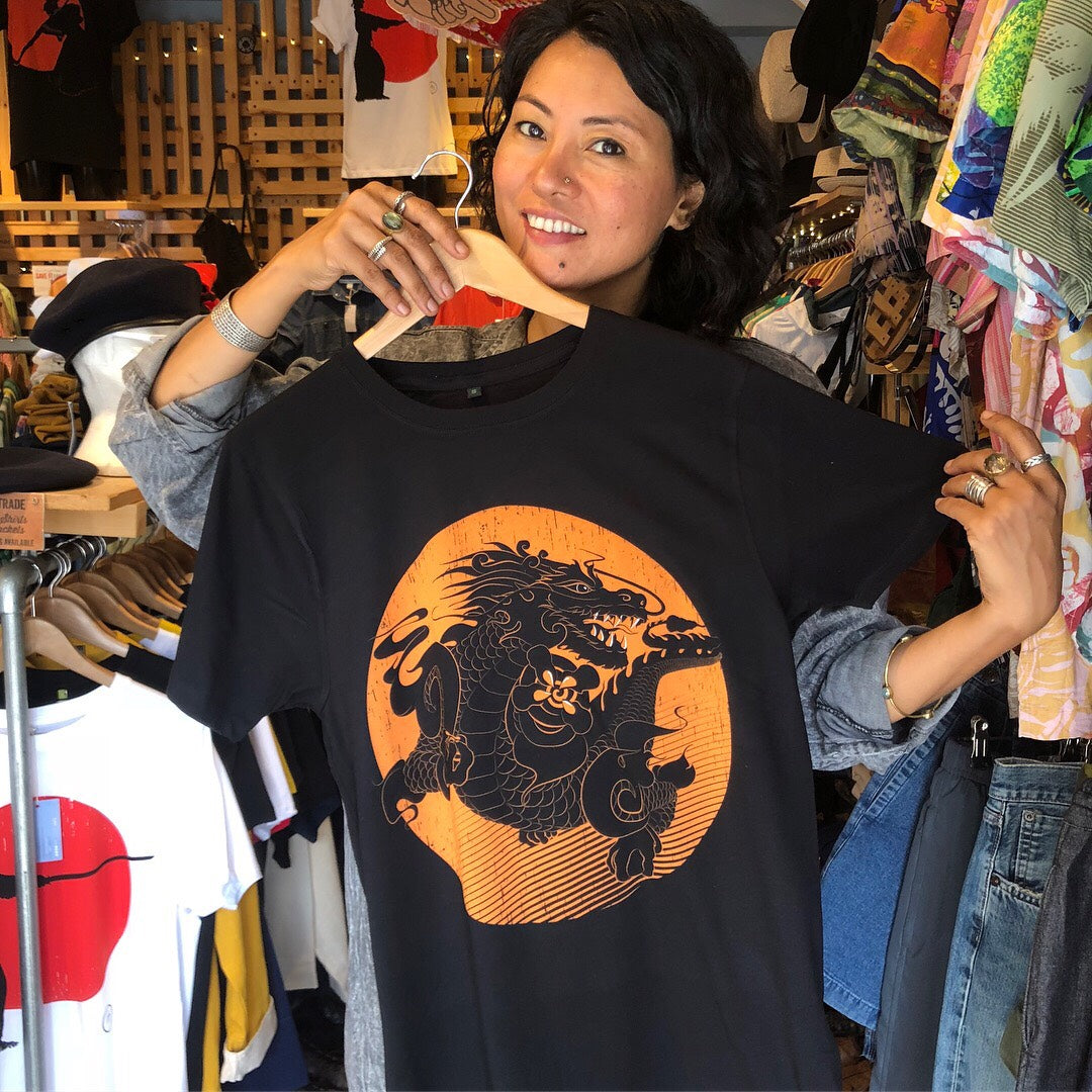 Bhutanese Thunder Dragon fairtrade, organic cotton t-shirt - black - design detail