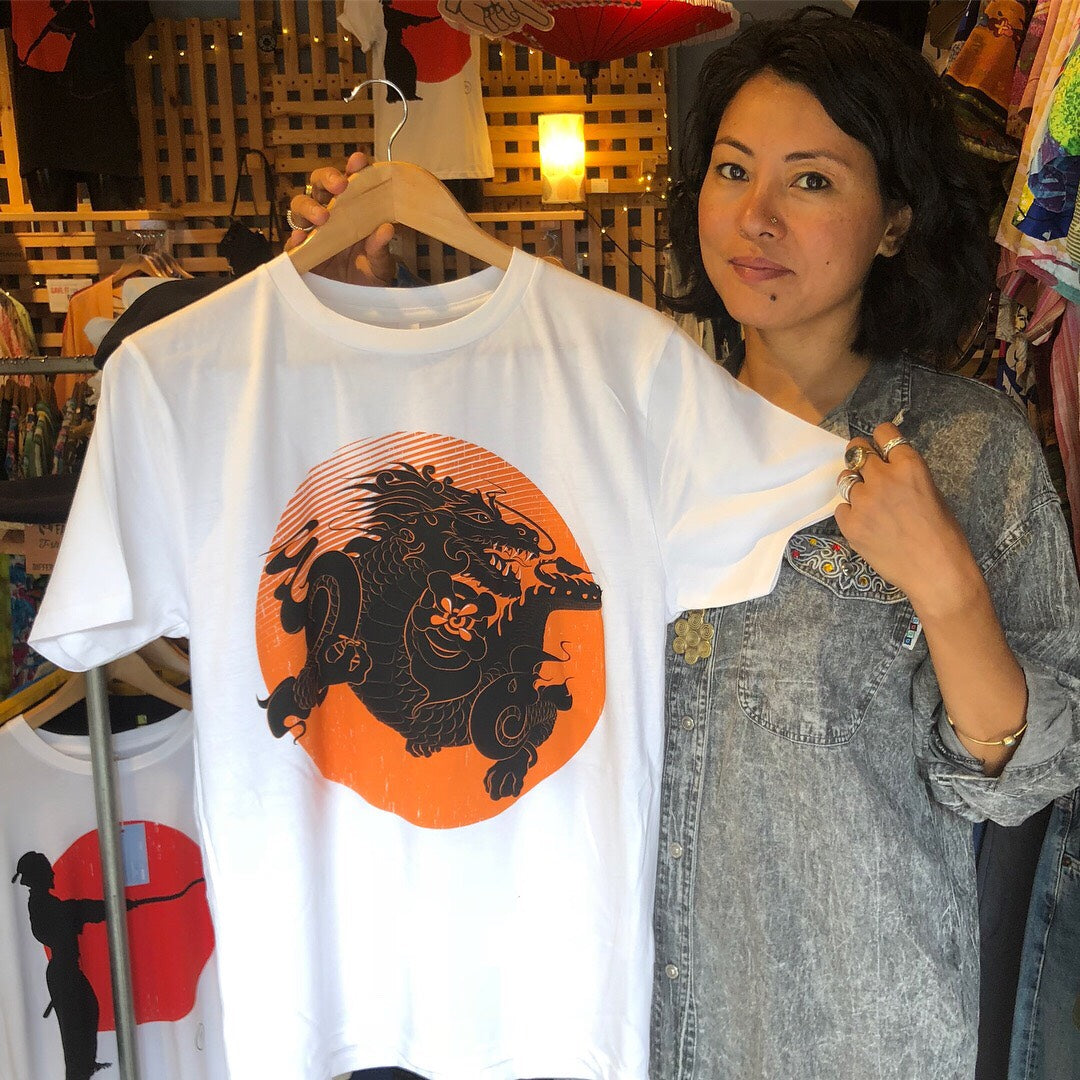 Bhutanese Thunder Dragon fairtrade, organic cotton t-shirt - white - design detail