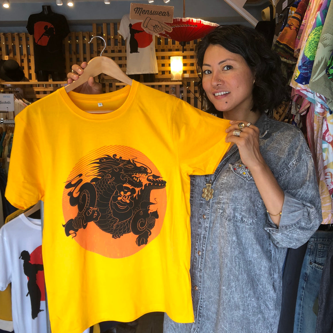 Bhutanese Thunder Dragon fairtrade, organic cotton t-shirt - yellow / gold - design detail