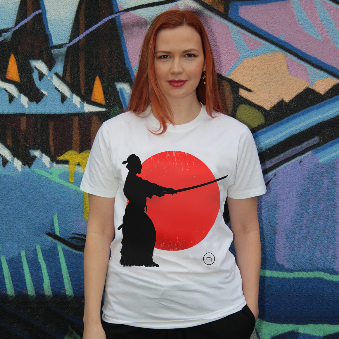 Mero Retro Samurai Sunset Fairtrade organic cotton T-shirt design - samurai silhouette against fiery sunset