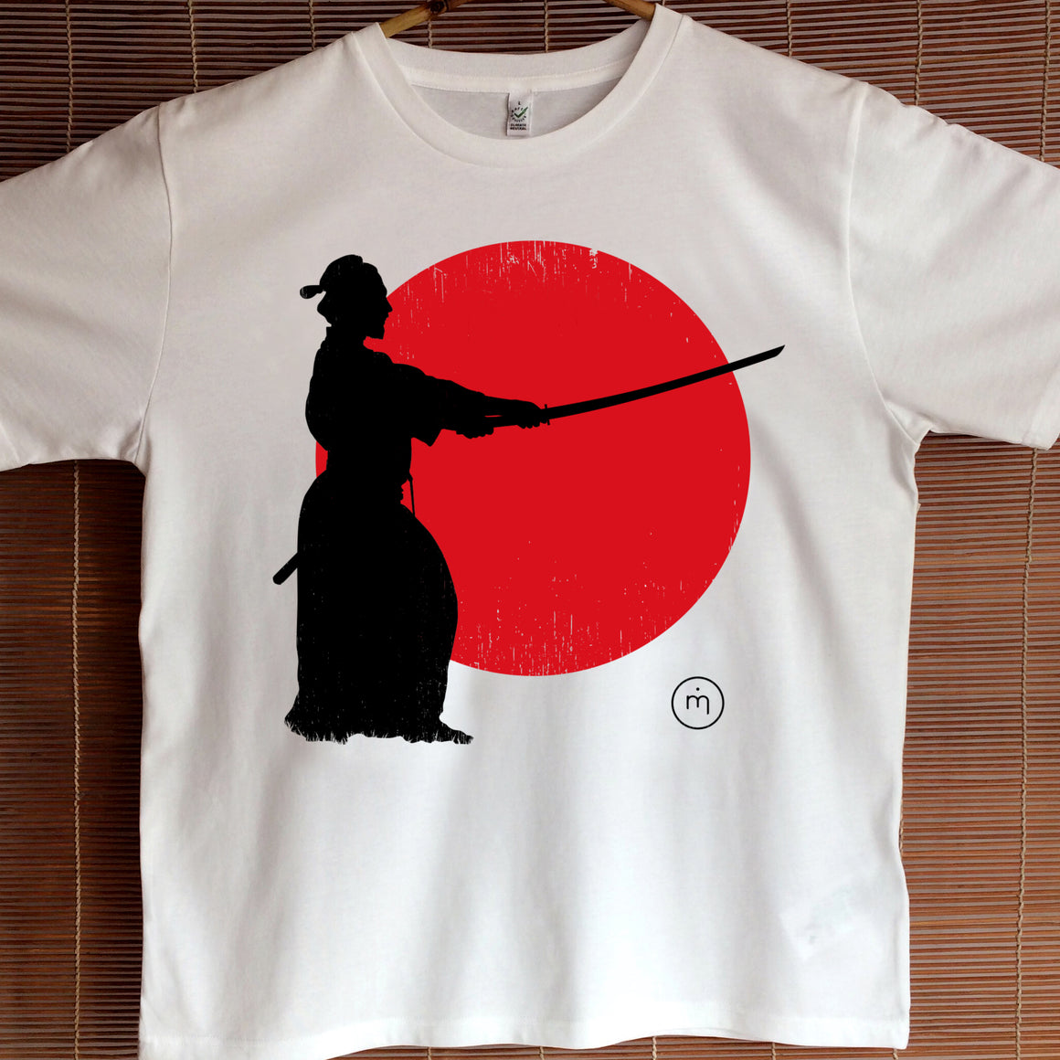 Mero Retro Samurai Sunset Fairtrade organic cotton T-shirt on male model