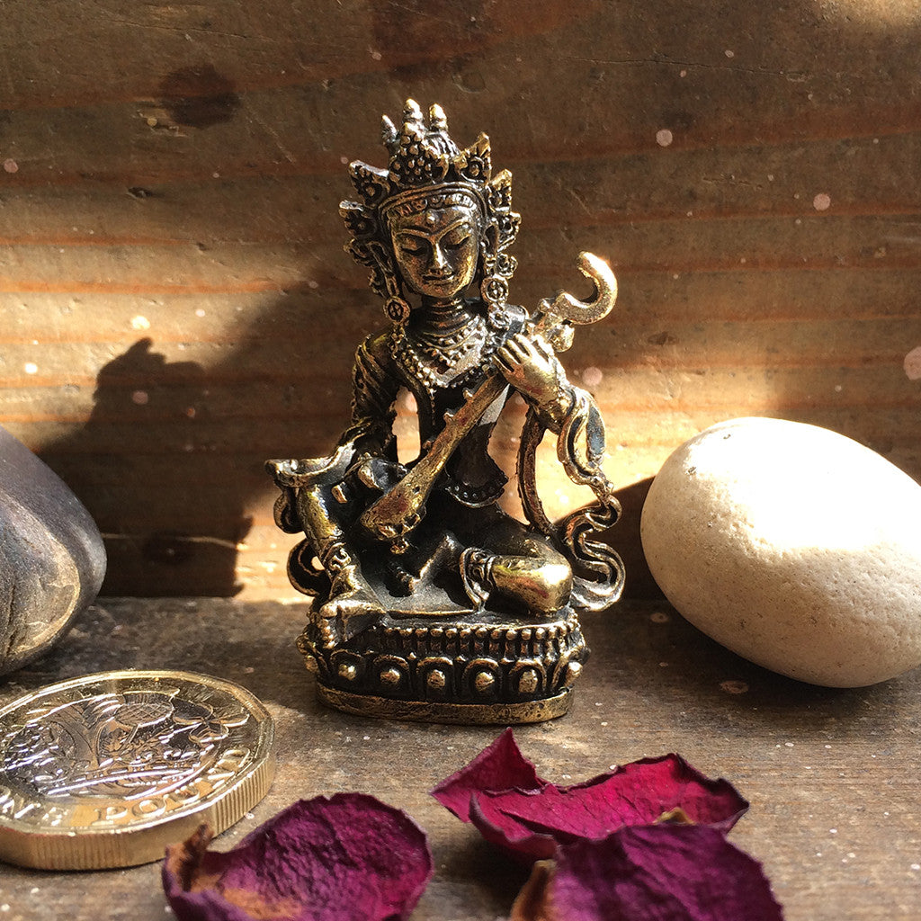 Saraswati Hindu goddess of learning and the arts - brass statuette