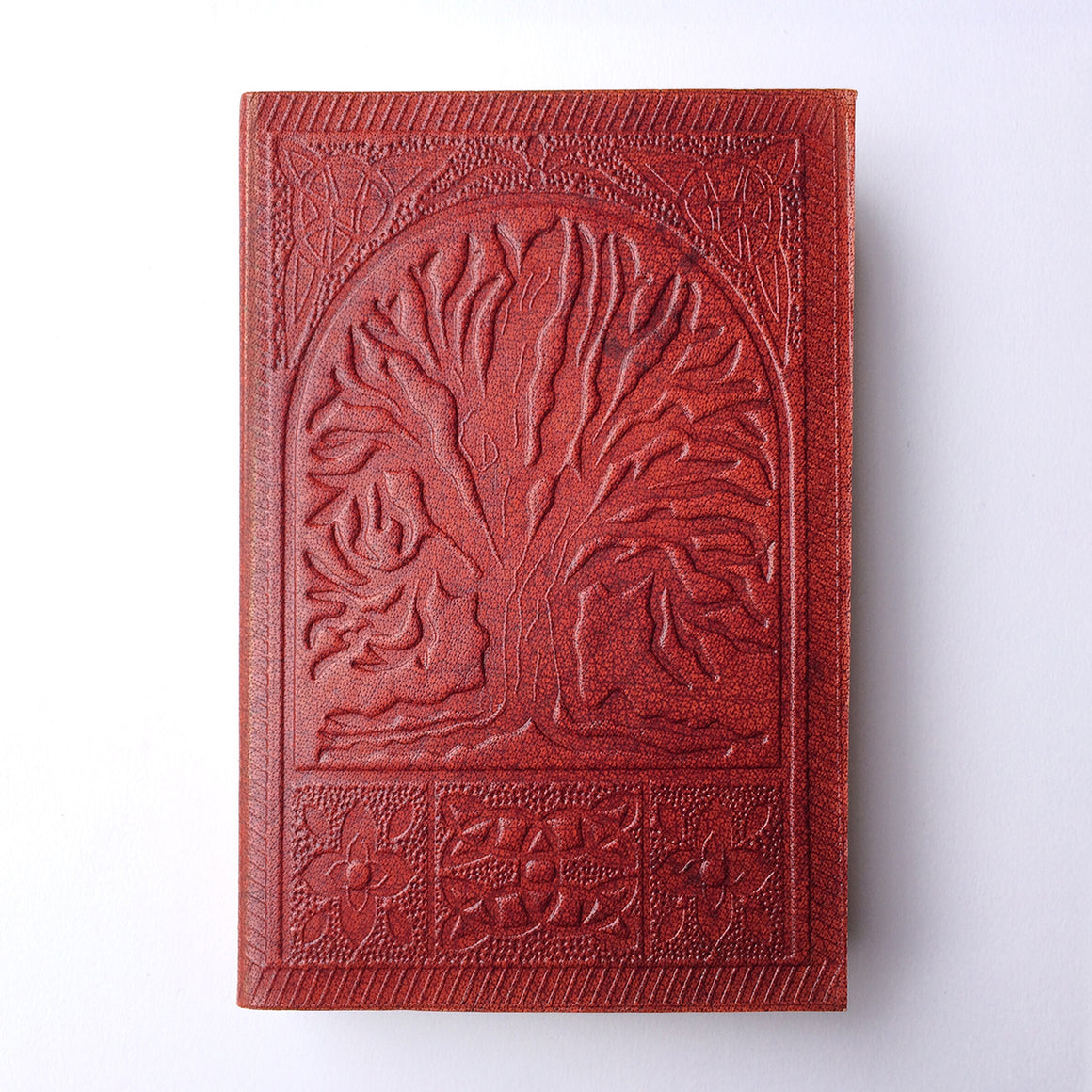 Fair Trade Leather Notebook with embossed Mandala design / Handmade Indian Leather Diary / Sketchbook / Journal - Front Cover