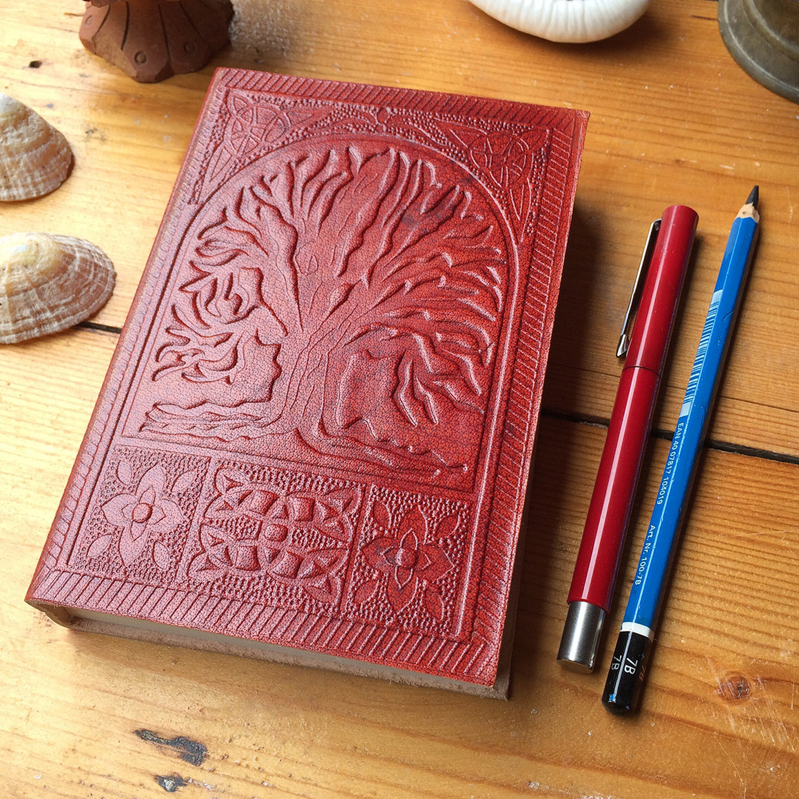Fairtrade Leather Notebook with embossed Tree of Life design / Handmade Indian Leather Diary / Sketchbook / Journal - Front Cover