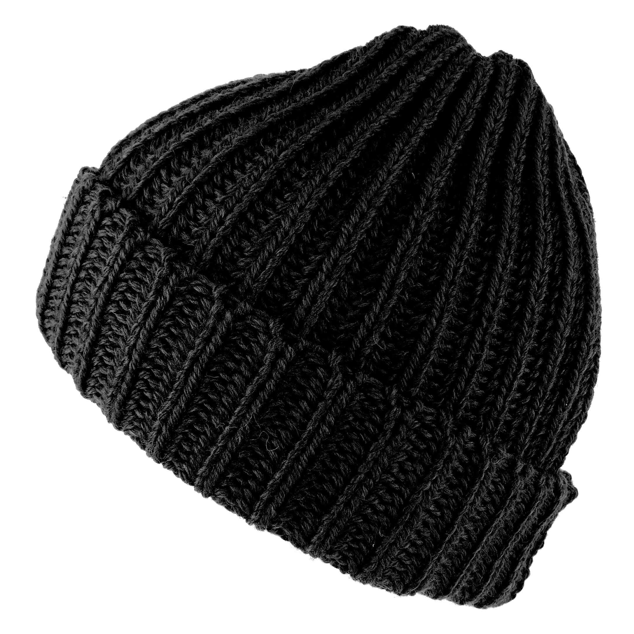 8fba49c9ce1 Wool Beanie Highland 2000 Fisherman s Hat Merino Wool Chunky Knit - Black