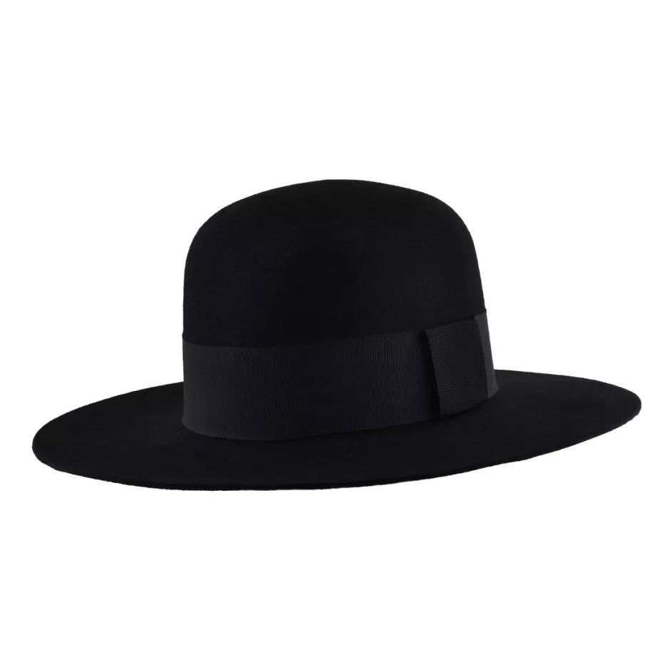 Wide Brim Black Bolero - with rounded crown