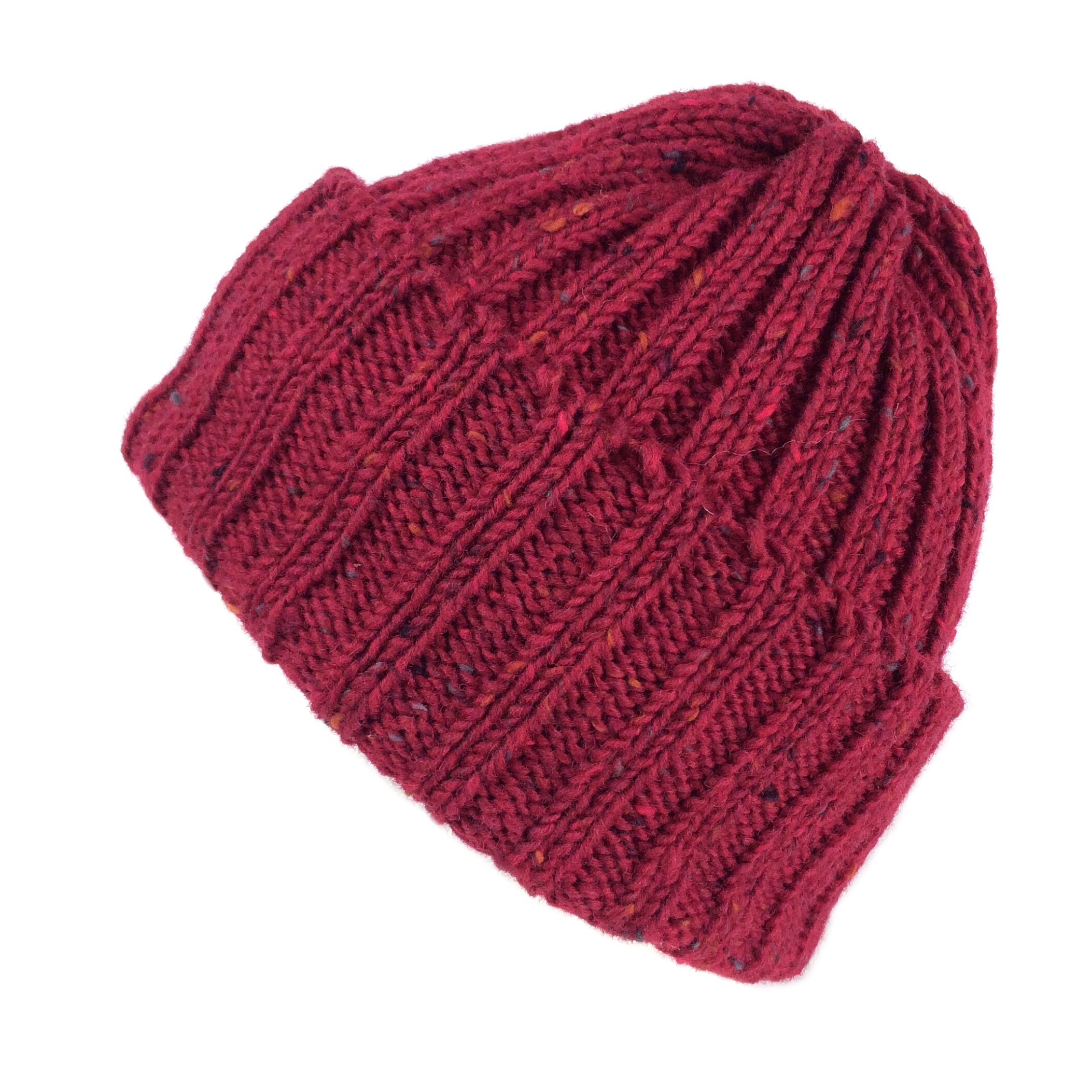 db5ab722bcfc8 Wool Beanie Fisherman s Hat Gift for Him or Her Highland 2000 Chunky Knit  Red Burgundy Unisex ...