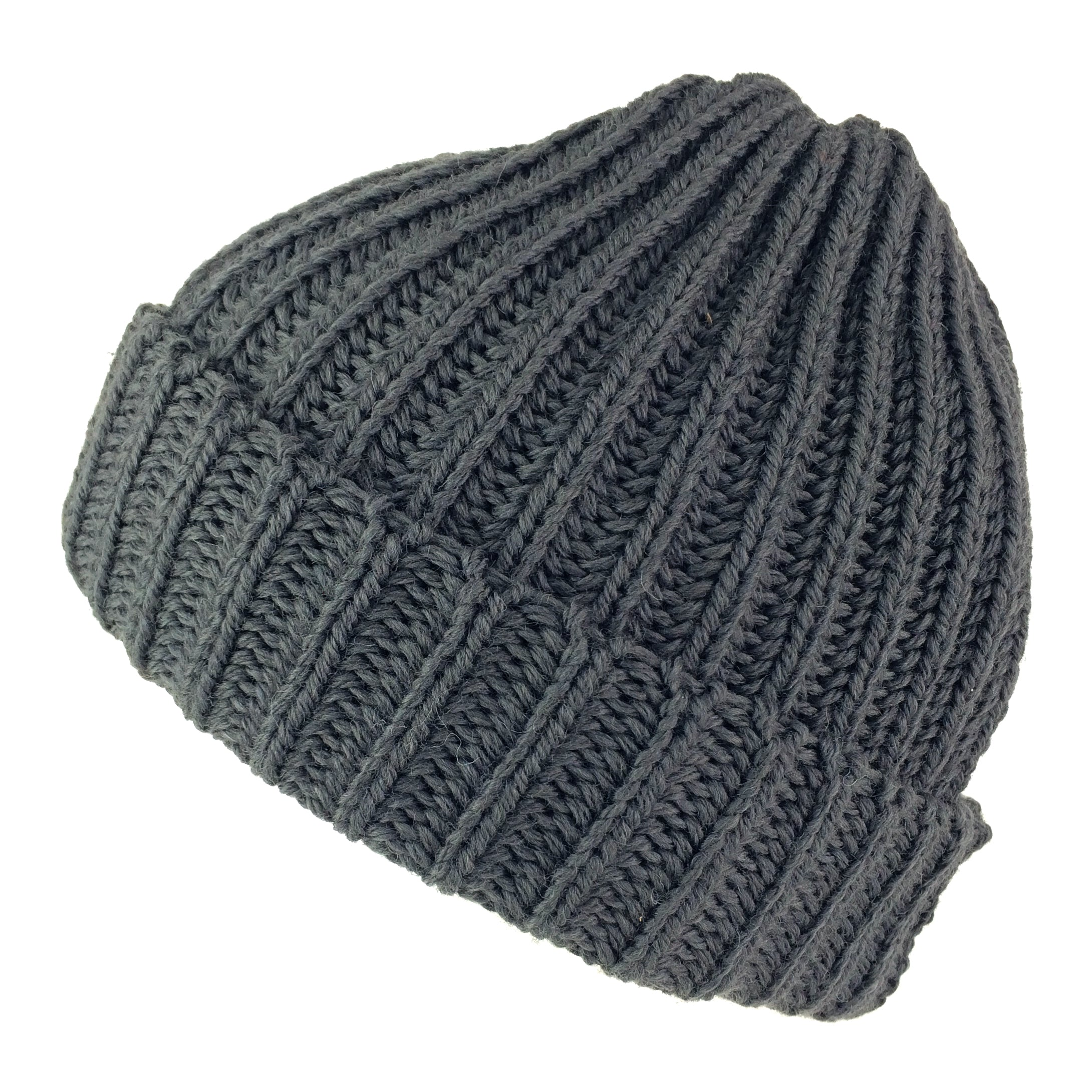 b36769a122dfe Wool Beanie Highland 2000 Fisherman s Hat Merino Wool Chunky Knit - Black