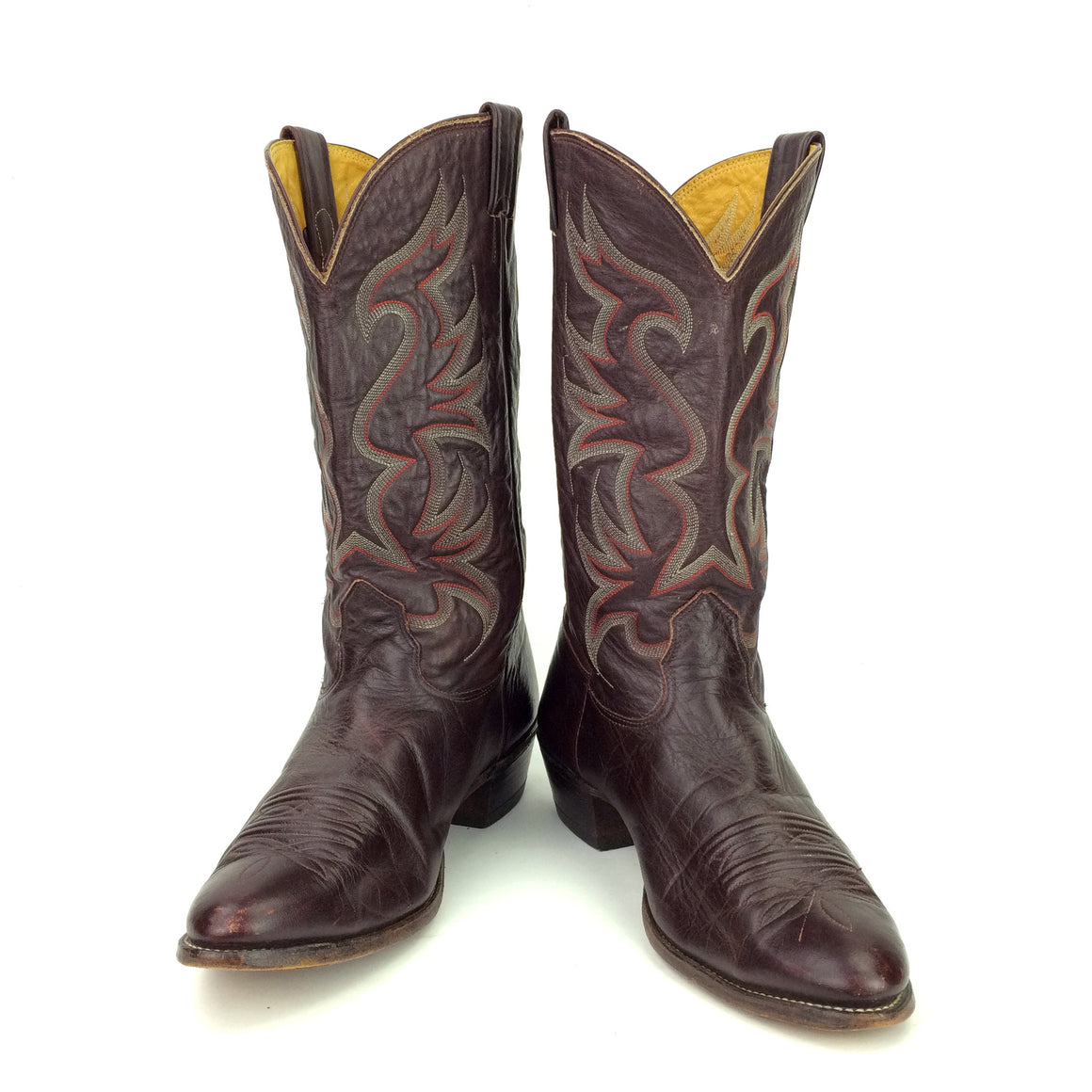 Vintage Cherry Brown Leather Nocona Cowboy Boots