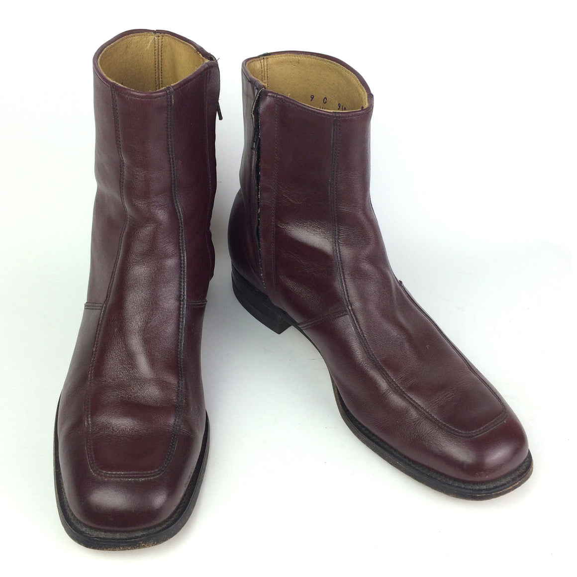 Vintage Burgundy O'Sullivan Executive Imperials Zip-Up Motorcycle Boots UK 8-8.5 / EUR 42 / US 9 C