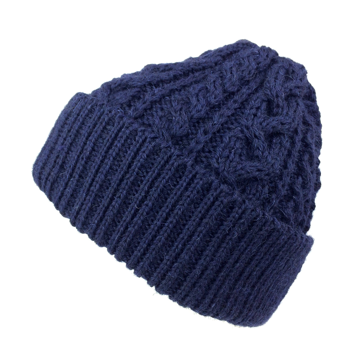 Wool Beanie Fisherman's Hat Merino Wool Cable Knit - 4 Colours: Black, Olive Green, Charcoal Grey, Navy Blue Bobcap