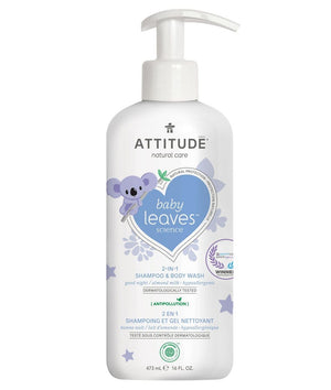 Attitude Canada- Baby Leaves 2 in 1 Shampoo & Bodywash- Night Almond Milk 473 ml
