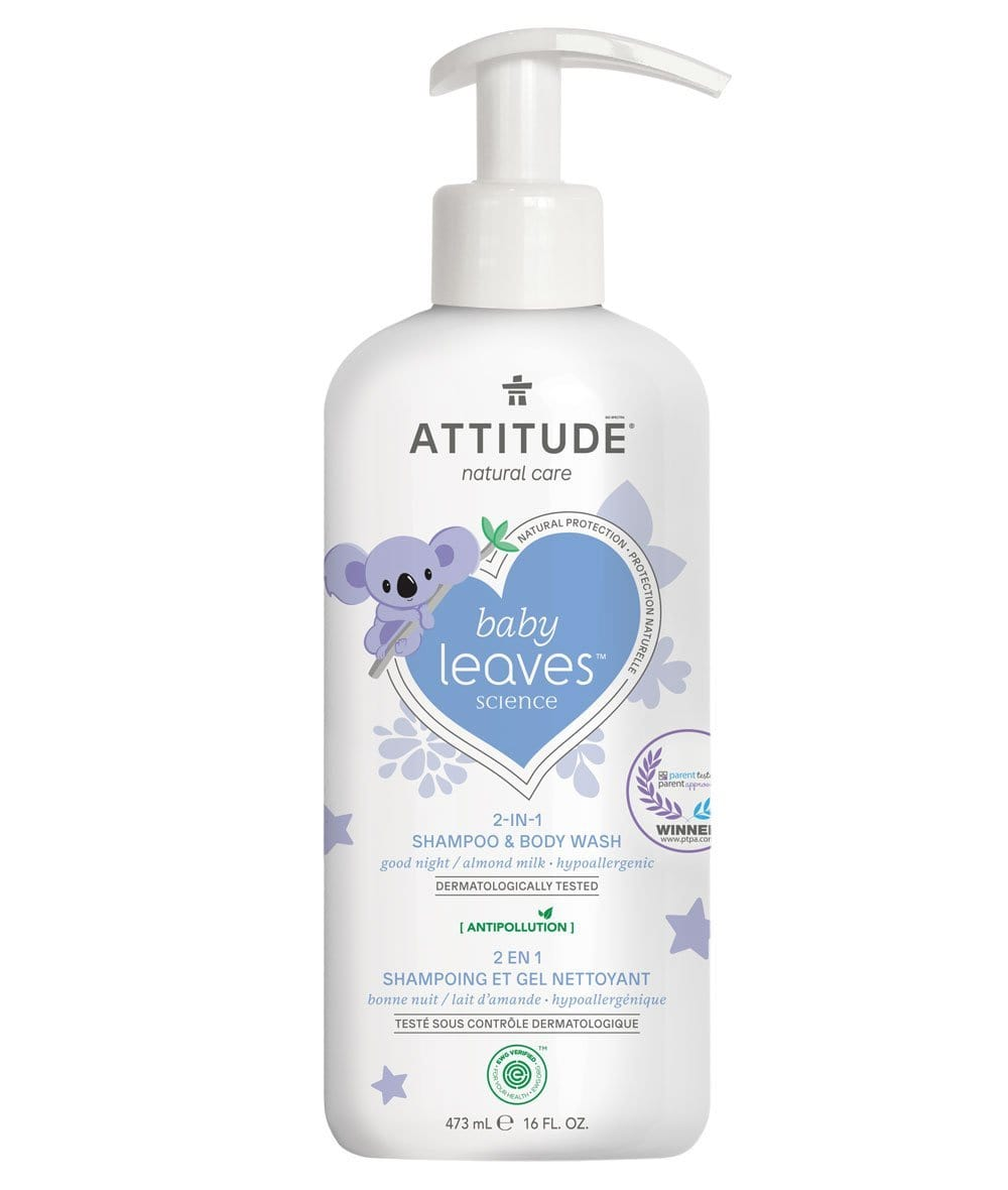 Attitude Canada- Baby Leaves 2 in 1 Shampoo & Bodywash- Night Almond Milk 473 ml (幼兒洗頭及沖涼液二合一-甜杏仁味)