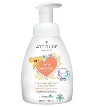 Attitude Canada- Baby Leaves 2 in 1 Foaming Hair and Body Wash-Pear Nectar 295 ml (幼兒洗頭及沖涼泡泡二合一-梨花蜜味)