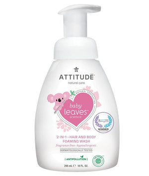 Attitude Canada- Baby Leaves 2 in 1 Foaming Hair & Body Wash- Fragrance Free 295 ml (幼兒洗頭及沖涼泡泡二合一-無味配方)