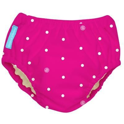 Charlie Banana USA 2-in-1 Swim Diaper & Training Pants White Polka Dots Hot Pink Medium