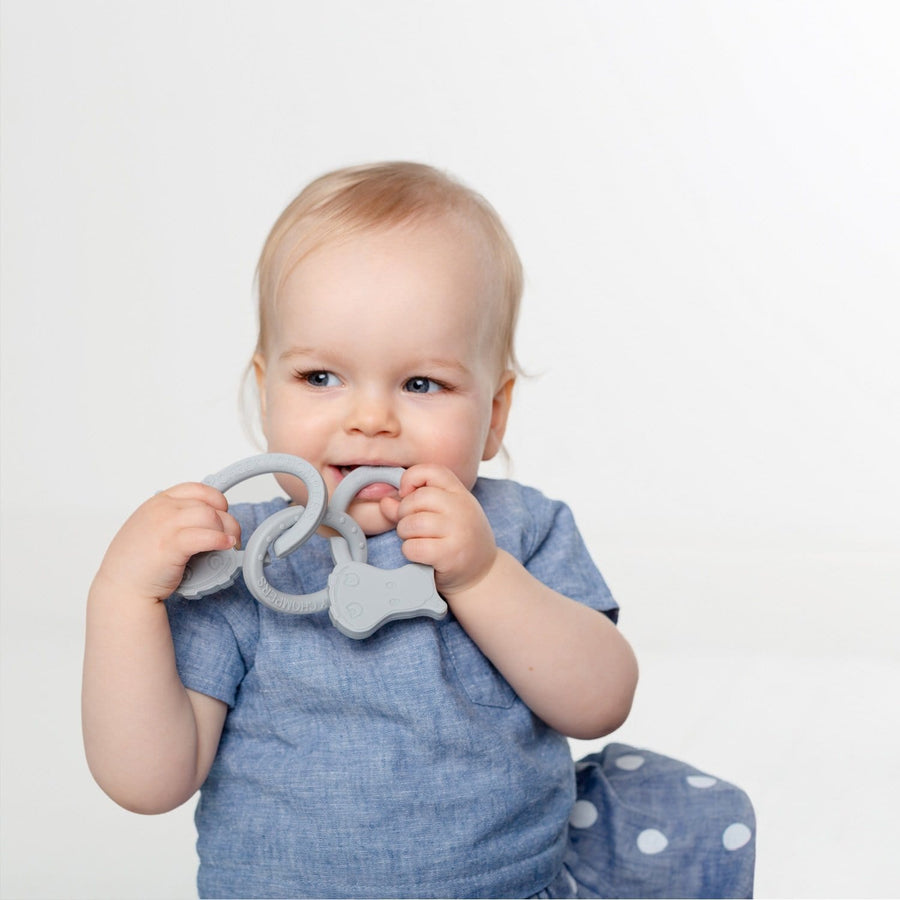 Cheeky Chompers UK- Attach & Chew Teether-Hippo Grey 英國品牌河馬咬咬牙膠