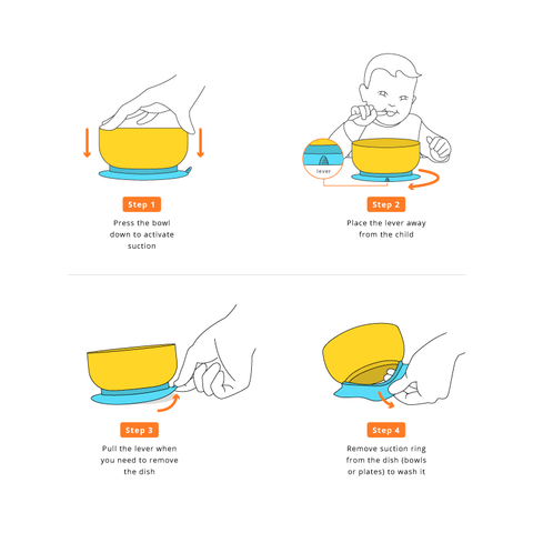Avanchy TODDLER Bamboo Stay Put Suction Plate + Spoon - Orange (兒童有機大竹盤套裝-橙色)