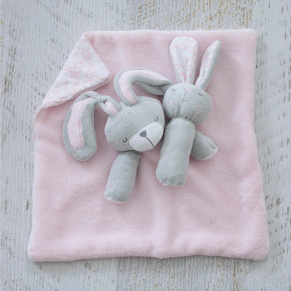 Bubba Blue Australia Bunny Hop Security Blanket & Rattle Set (澳洲Bubba Blue 甜睡兔兔系列-新穎可愛安撫巾)
