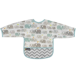 Kushies Canada- Clean Bib with Sleeves- Elephant 加拿大品牌Kushies有袖飯衣/多功能防污圍衣