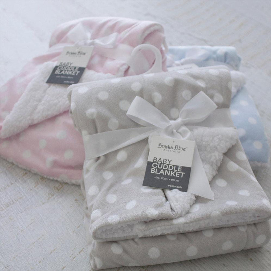 Bubba Blue Australia Grey Polka Dots Reversible Cuddle Blanket (澳洲Bubba Blue 灰波點雙面兩用毛氈)