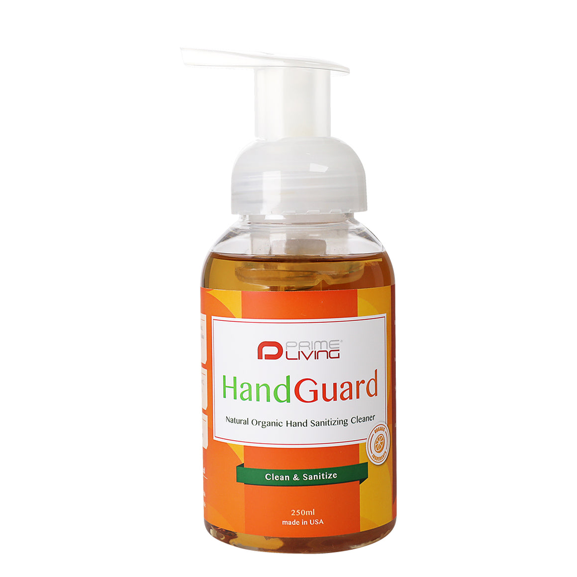 Prime Living- HandGuard- Natural Organic Hand Sanitizing Cleaner 250 ml 有機天然免沖洗消毒搓手液(15秒殺菌)