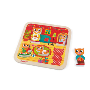 Janod France Chunky Puzzle Living Room 法國品牌Janod 拼圖(貓貓的家庭)