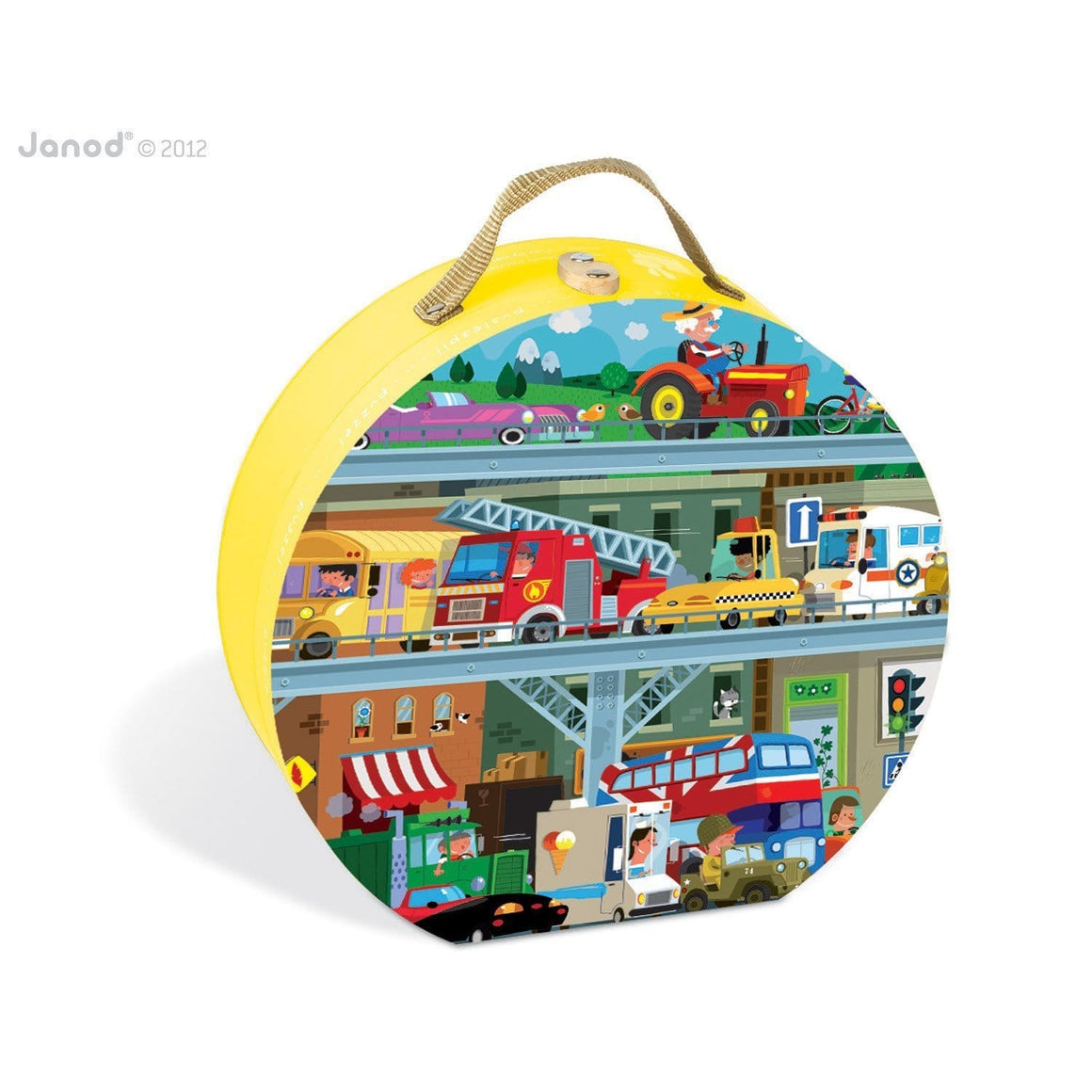 Janod France Hat Boxed 100 Pcs Puzzle (Vehicles) 法國品牌Janod 100片拼圖 (汽車)