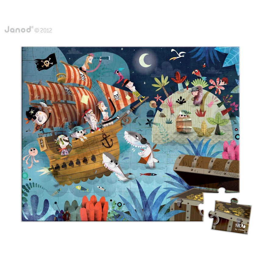 Janod France Hat Boxed 36 Pcs Puzzle (Treasure Hunt)法國品牌Janod 36片拼圖(海盜奇遇)