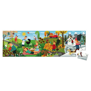 Janod France Hat Boxed 36 pcs Panoramic Puzzle (4 Seasons)  法國品牌Janod 36片拼圖(一年四季)