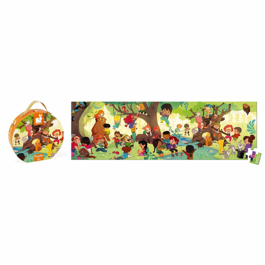 Janod France Hat Boxed 36 pcs Panoramic Puzzle (A Day in the Forest)法國品牌Janod 36片拼圖(在森林的一天)