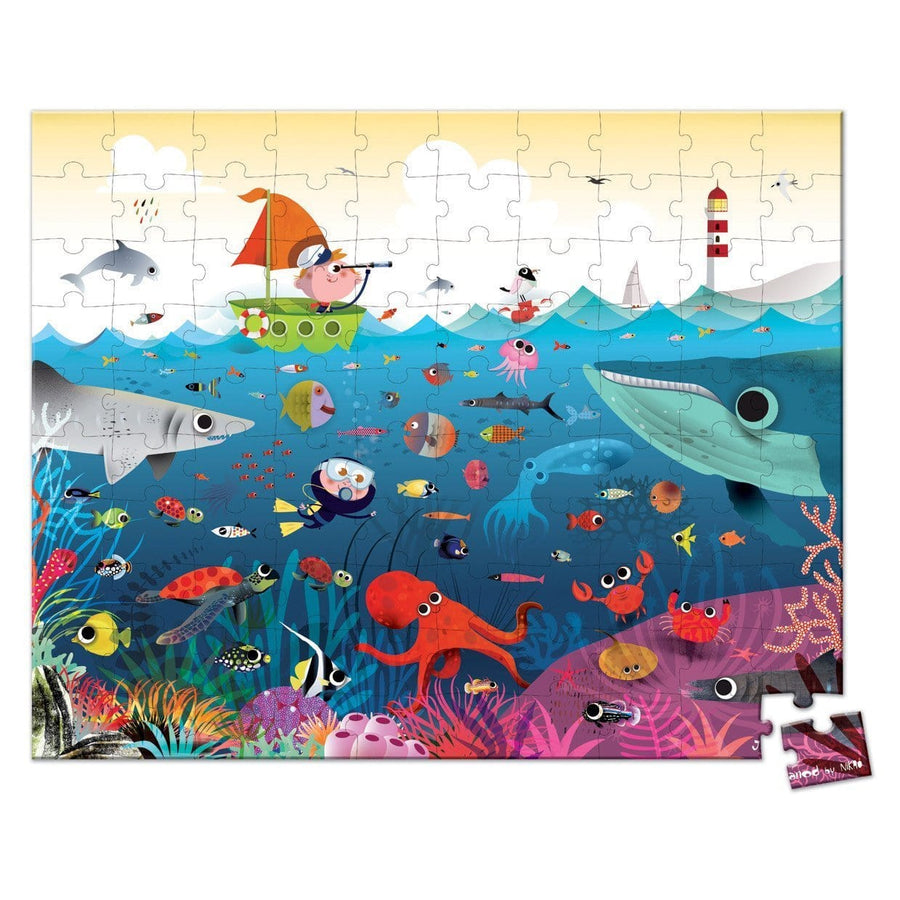Janod France Hat Boxed 100 Pcs Puzzle (Underwater World)法國品牌Janod 100片拼圖(海洋世界)