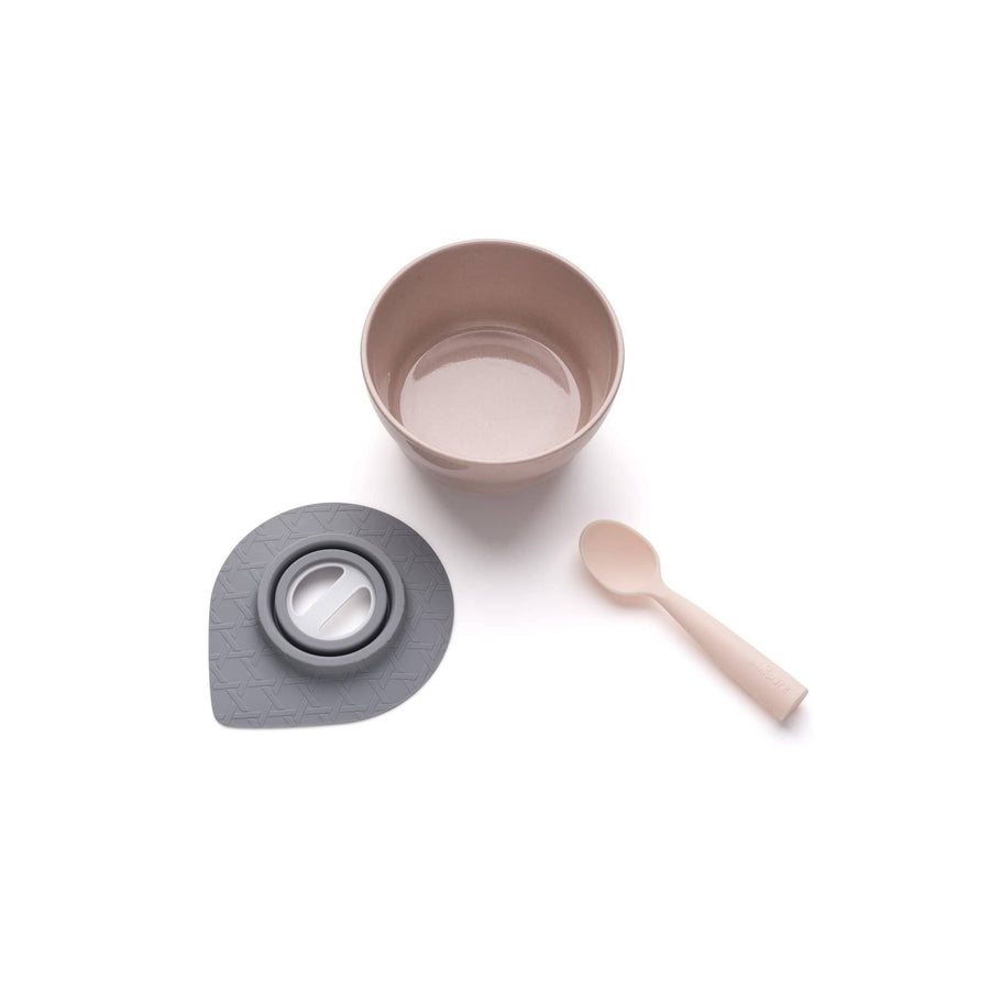 Miniware Taiwan First Bite Set - Cereal Bowl Sandy Stone  + Spoon Peach
