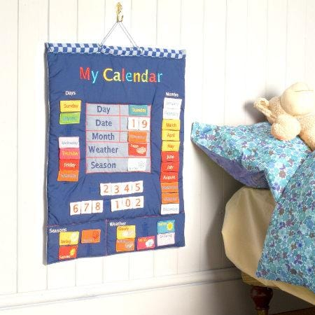 Fiesta Crafts UK- My Calendar-Fabric-Blue (英國Fiesta Crafts我的日曆布料掛飾)