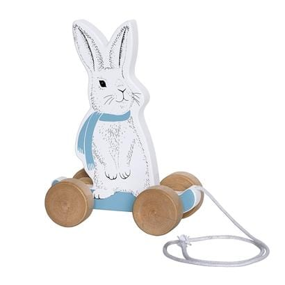 Bloomingville Denmark- Pull Along Toy, MDF, White and Blue Rabbit 嬰兒玩具