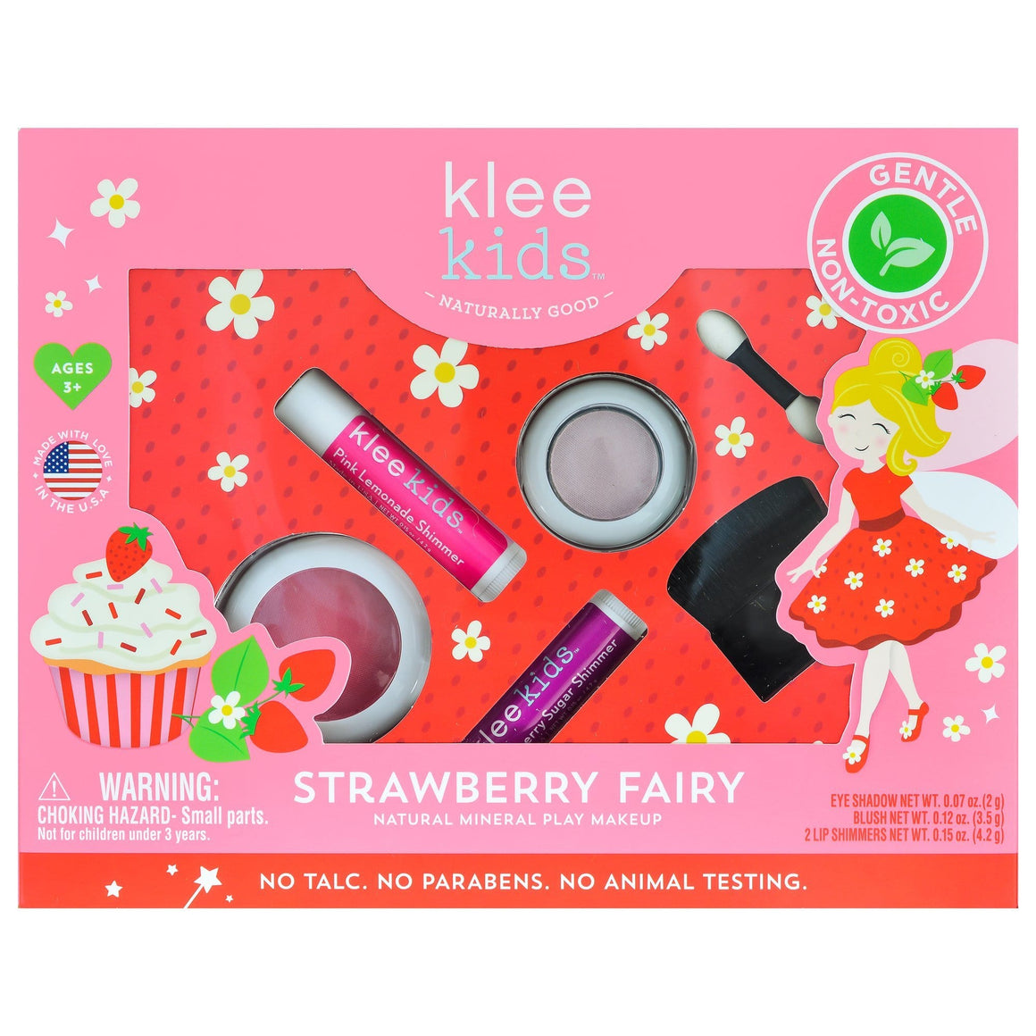 KLEE Naturals USA- STRAWBERRY FAIRY - KLEE KIDS NATURAL PRESSED POWDER MINERAL PLAY MAKEUP SET